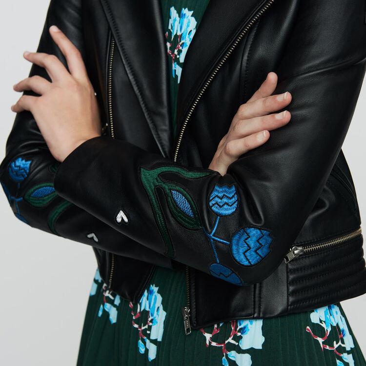 Embroidered leather jacket : Coats & Jackets color BLACK
