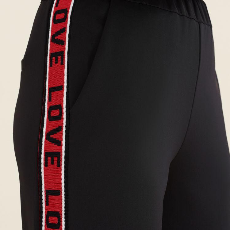 Satin pants with bands : Pants & Jeans color Black 210
