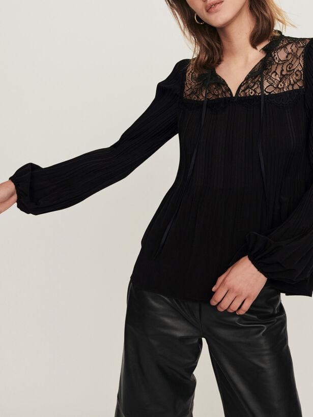 마쥬 MAJE Pleated top with lace trim,Black