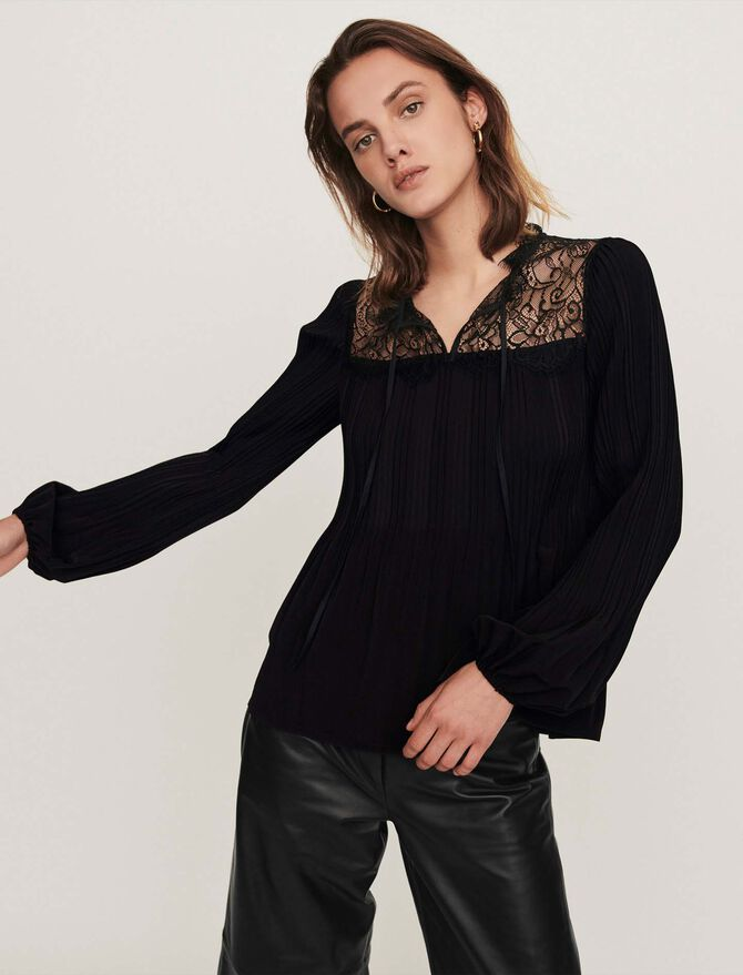 Pleated top with lace trim - The Essentials - MAJE