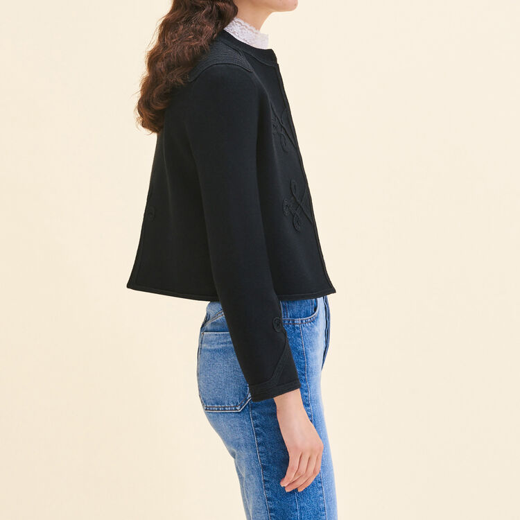 Cardigan with trimming details : Sweaters color Black 210