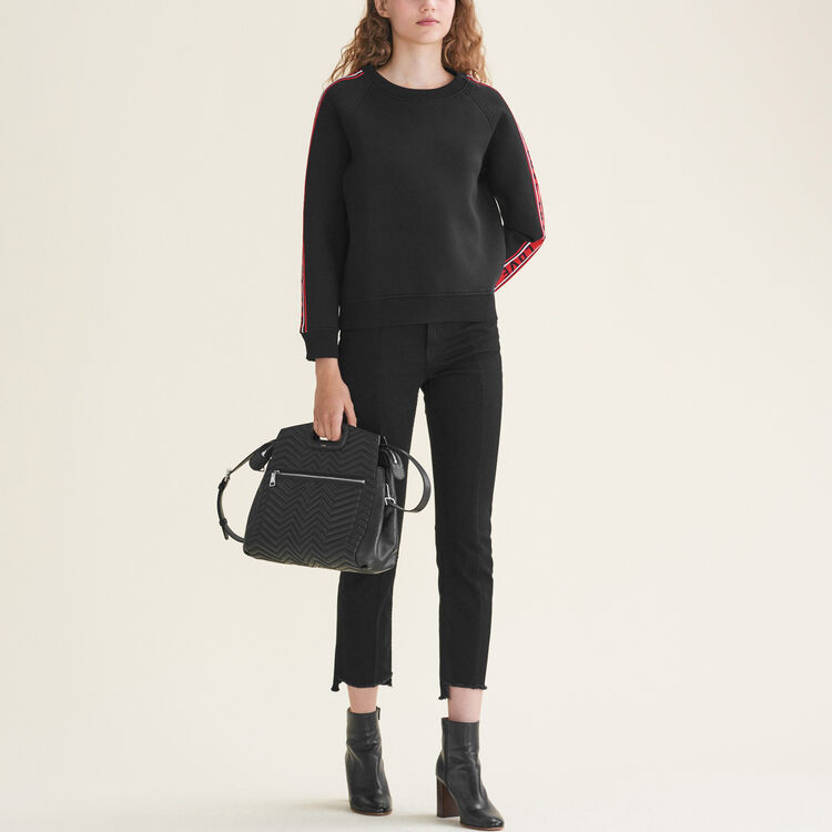 Neoprene sweatshirt with bands : The Essentials color Black 210