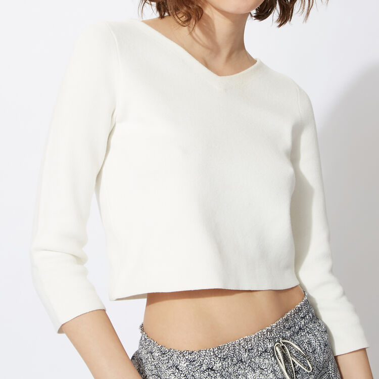 Cropped jumper in run-resistant knit : Copy of Sale color
