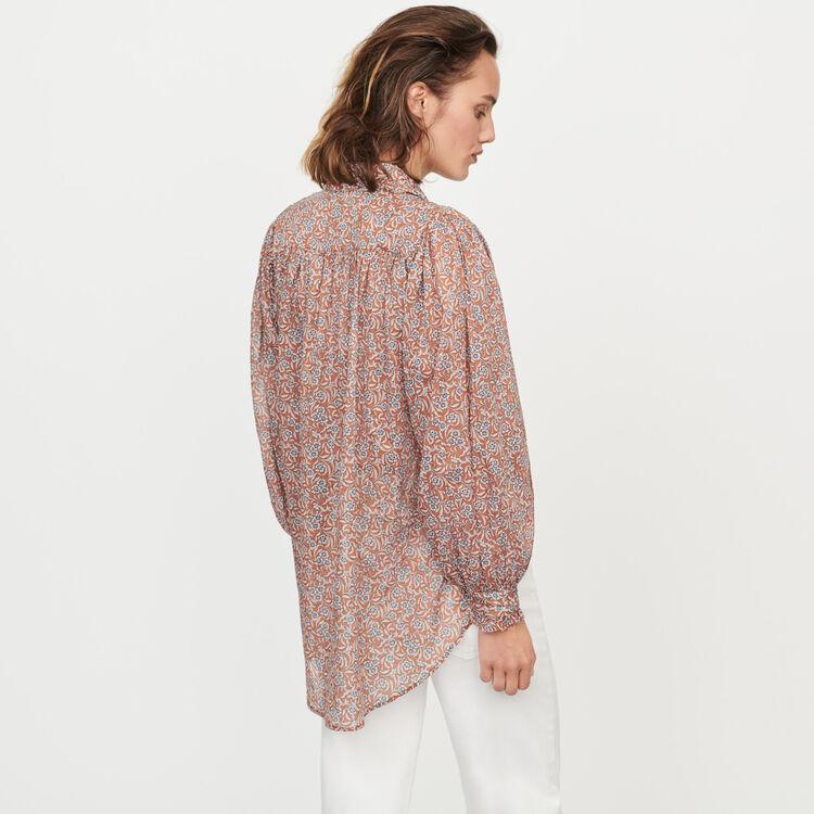 baf348fbcb95cb CALYS Printed- cotton voile shirt - Tops & T-Shirts - Maje.com