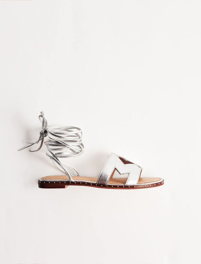 Leather tie sandals - Shoes & Accessories - MAJE