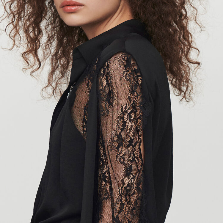 Satin and lace playsuit : Jumpsuits & Rompers color Black