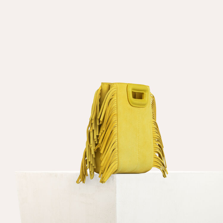 Fringed suede M minibag : M Mini color Yellow