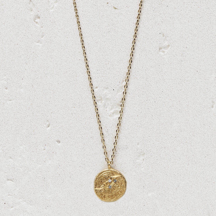 "Necklace with medallion ""Ma poule"" : Jewelry color GOLD"