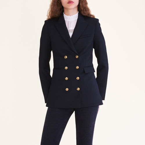 Eight-button double-breasted jacket : Coats & Jackets color Black 210