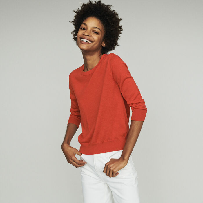 Round collar sweater : Sweaters color Red