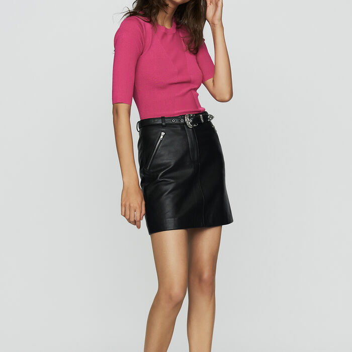 Fine knit sweater with short sleeves : The Spring Essentials color Fuschia