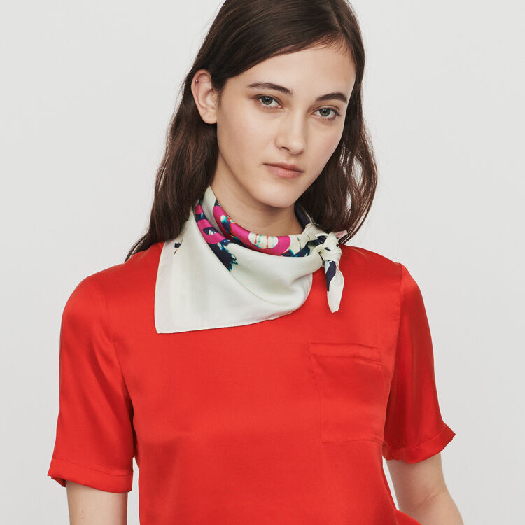 Dual material t-shirt : Tops & T-Shirts color Red