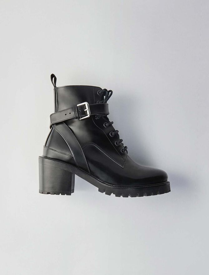 Heeled lace-up polished leather booties - Shoes - MAJE