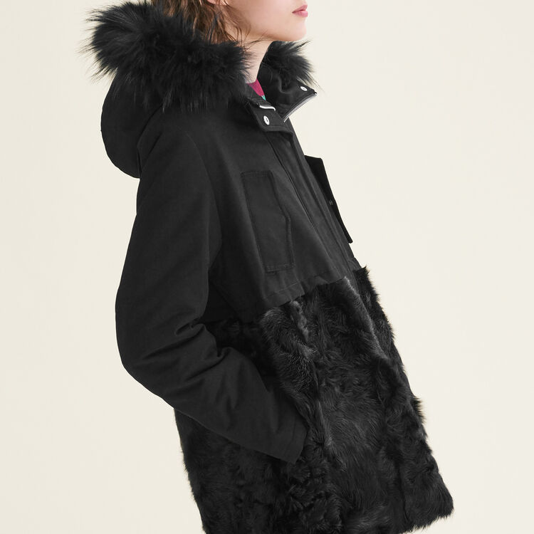 Parka in cotton and curly sheepskin : null color