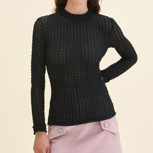 Top with a mixture of embroidery : Sweaters color Black 210