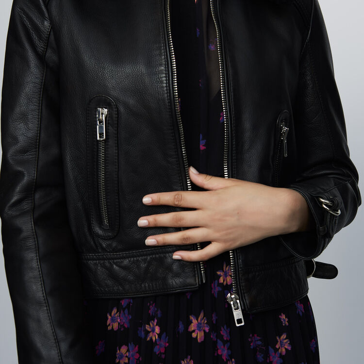 Leather jacket with sheepskin : Coats & Jackets color Black 210