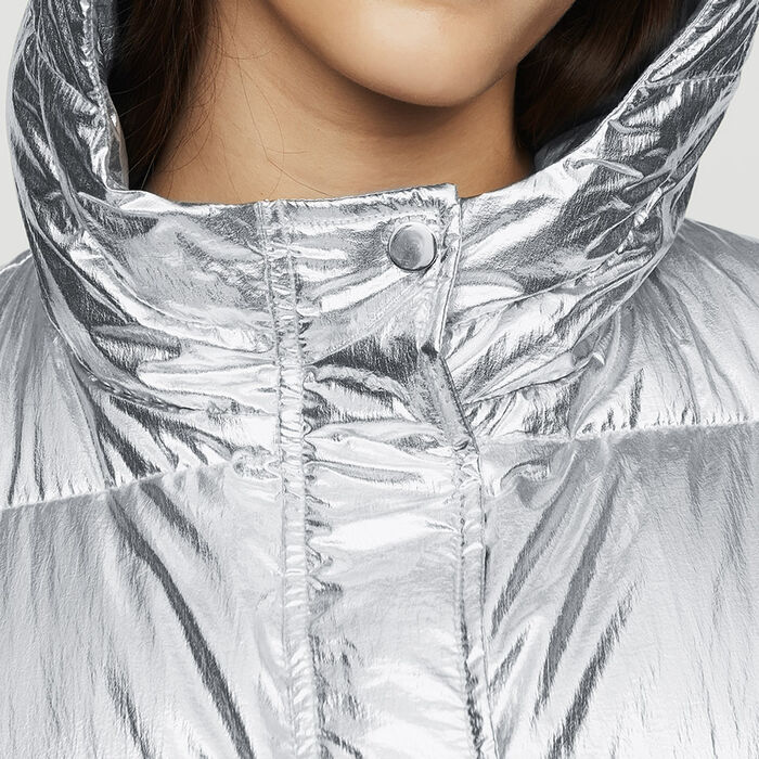 Cropped down jacket in crinkle nylon : Coats & Jackets color Silver