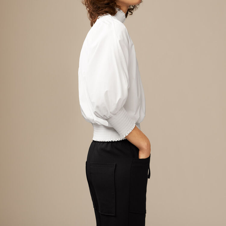 Smocked cotton poplin blouse : Tops & Shirts color Blue