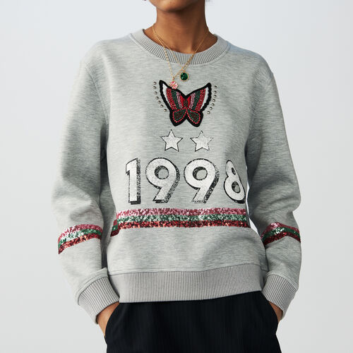 Cotton sweatshirt with sequins : Sweaters color Grey