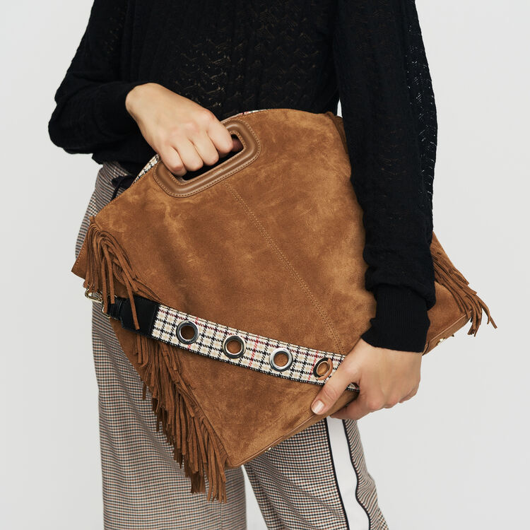Tote with leather fringe : Bags color Camel