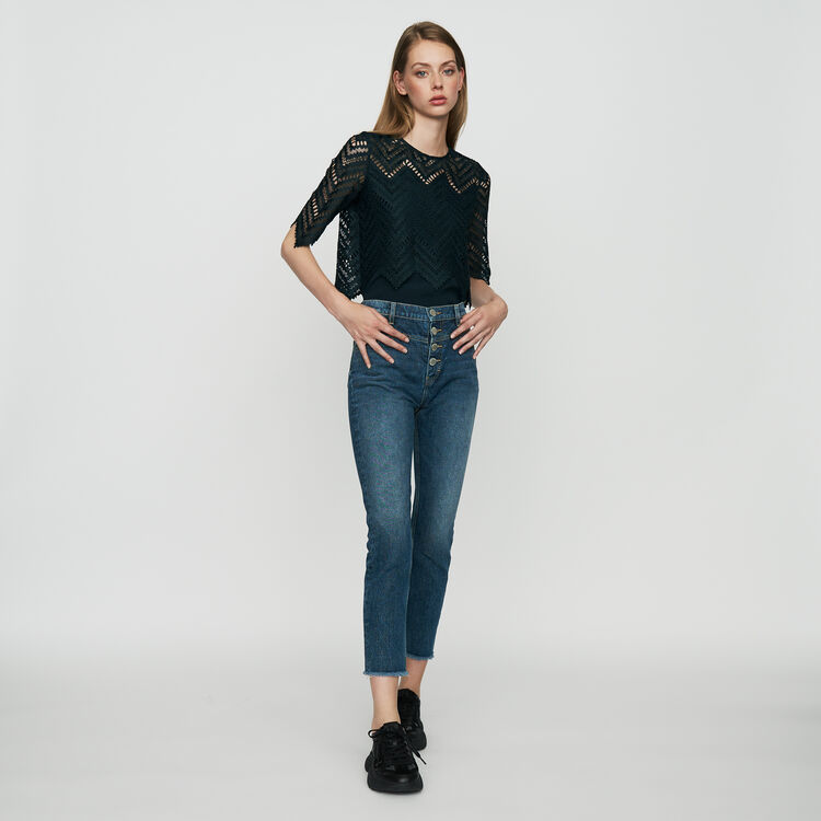 Straight, high-waist jeans : Pants & Jeans color Blue