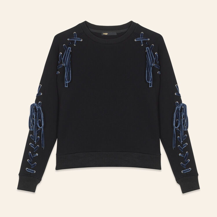 Fleecy sweatshirt with lacing : Tops & Shirts color Black 210