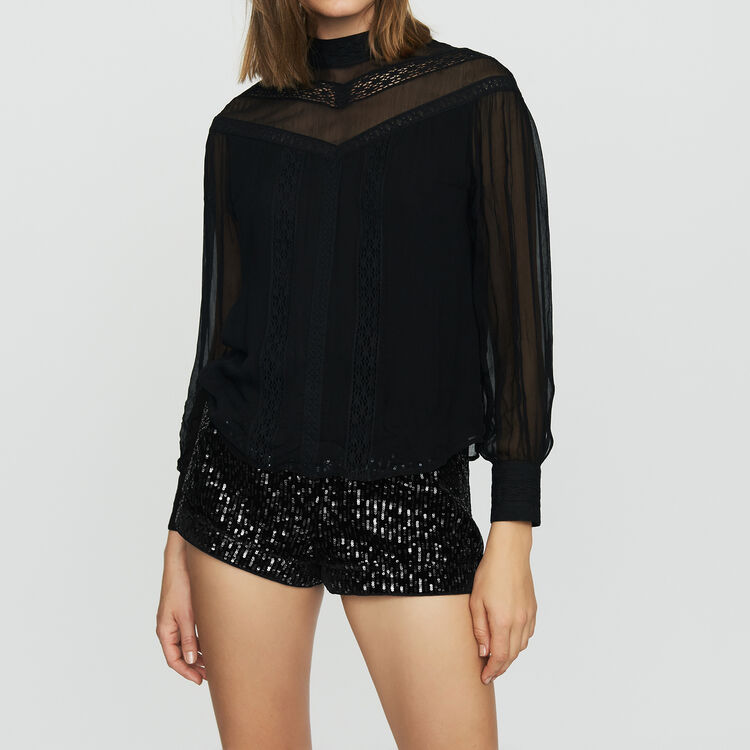 Ruffled shirt with embroidery : Tops & T-Shirts color Black 210