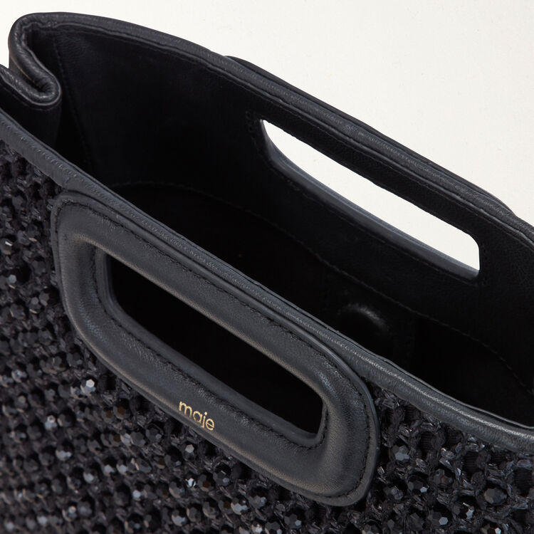 M bag in raffia with pearls : M Bags color Black 210
