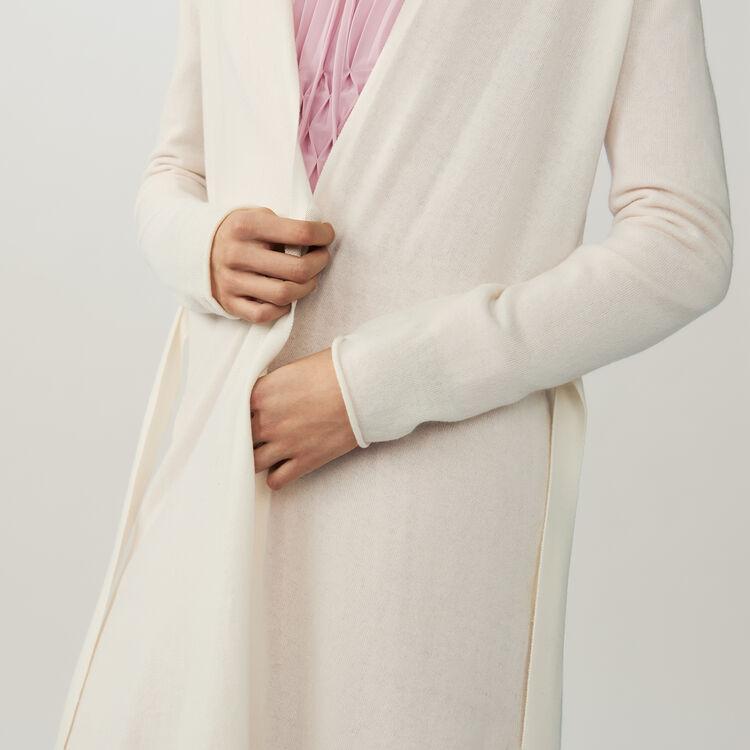 Belted long cardigan : Sweaters color ECRU