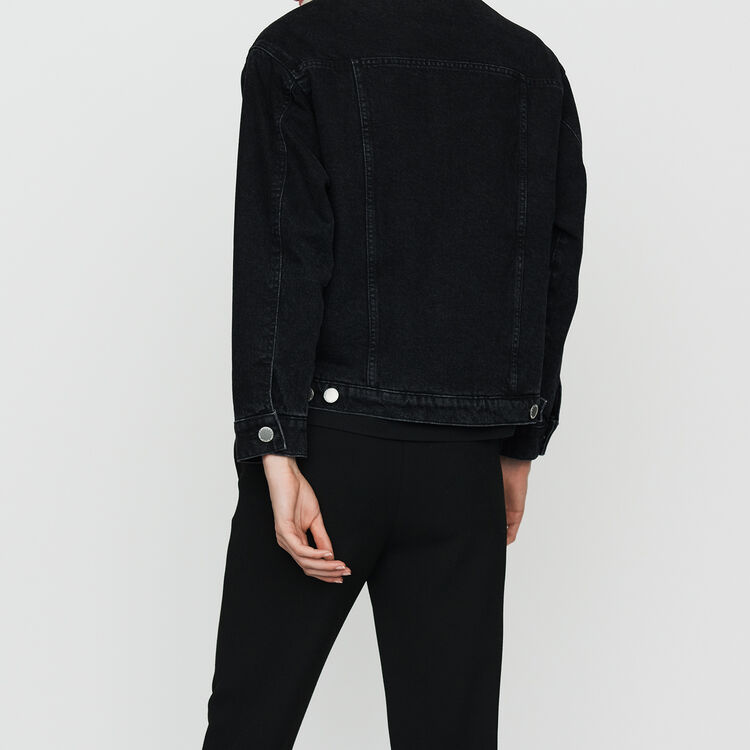 Denim jacket with shearling details : Coats & Jackets color Black 210