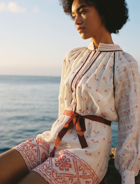 Belted embroidered playsuit - Jumpsuits & Rompers - MAJE