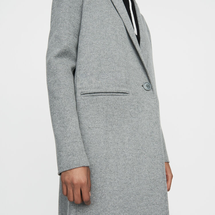 Long coat in double-faced wool : Coats & Jackets color GREEN