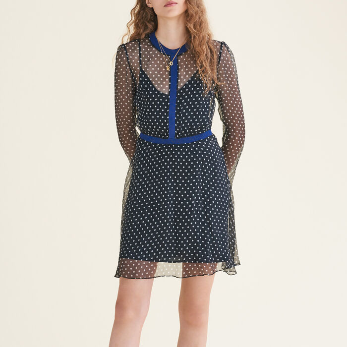 Polka-dot silk chiffon dress : null color