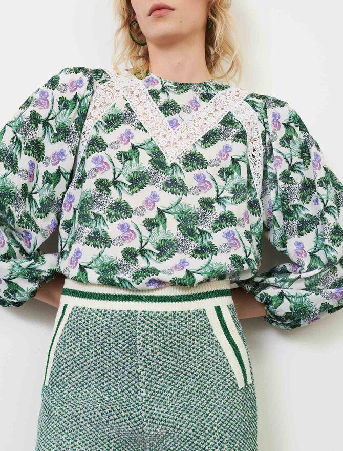 Printed viscose linen top - Tops & T-Shirts - MAJE