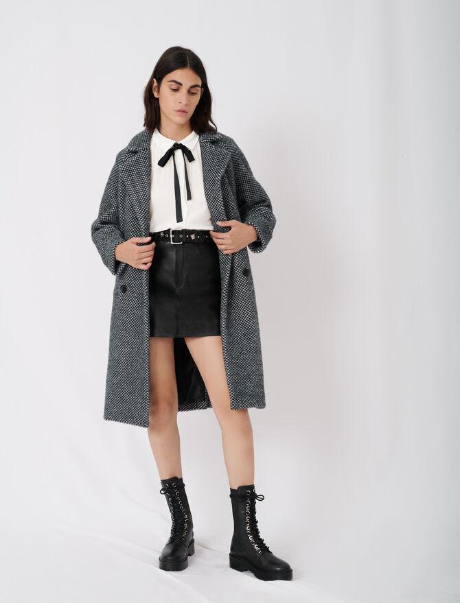 Checked tricotine coat - Coats & Jackets - MAJE