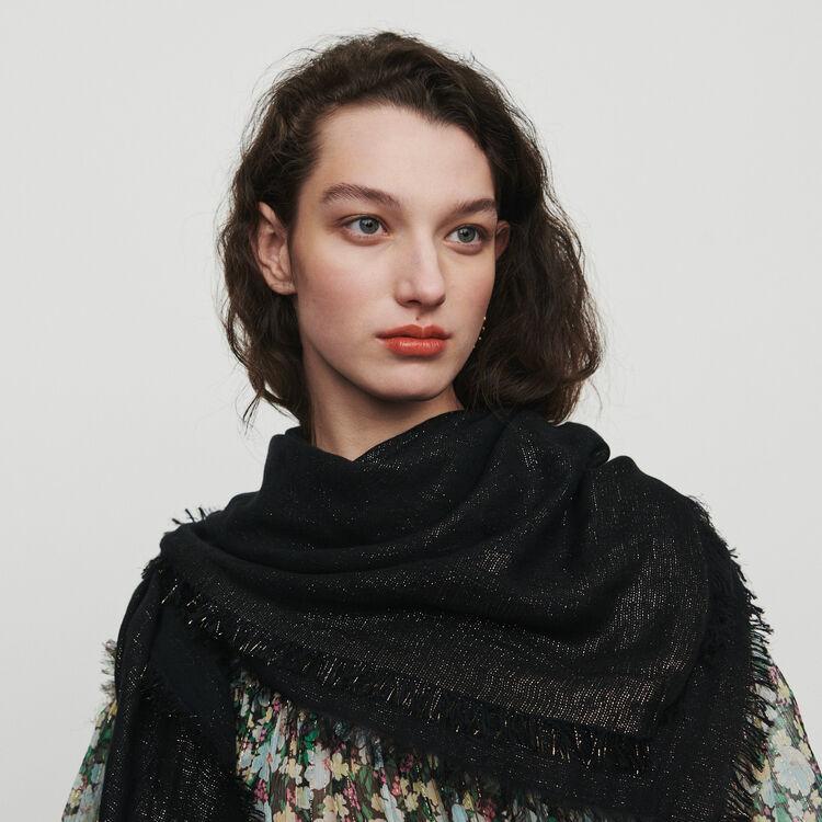 Shawl in lurex M motif : Scarves & Ponchos color Black