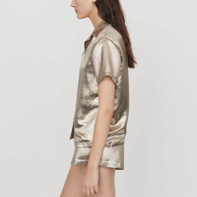 Pajama-style silk blend shirt : Tops & T-Shirts color Gold