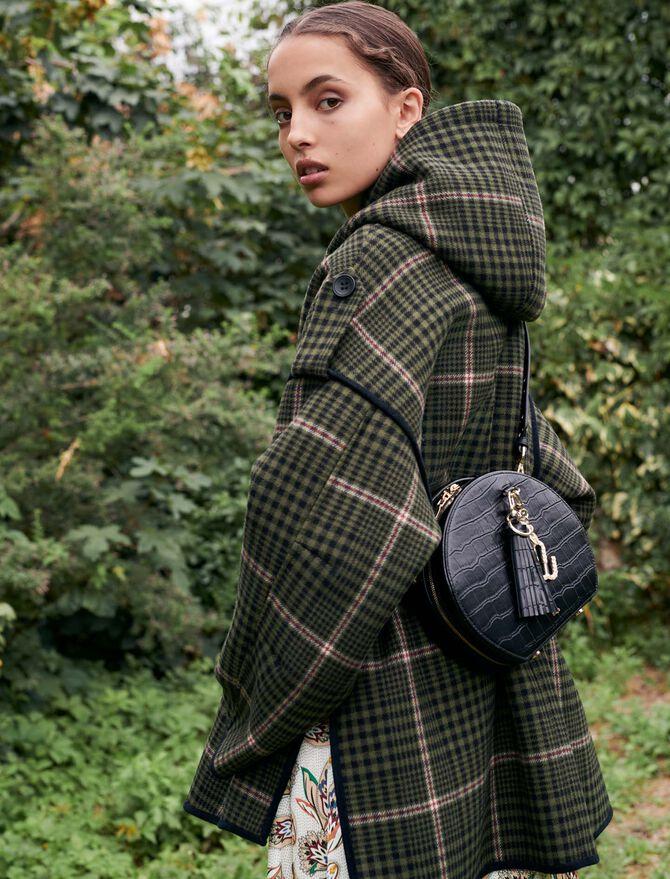 Checked coat with faux shearling - Coats & Jackets - MAJE