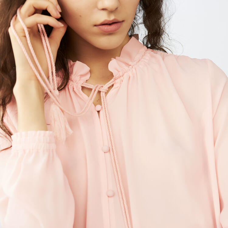 Flowing blouse with cord tie : Tops & T-Shirts color Pink