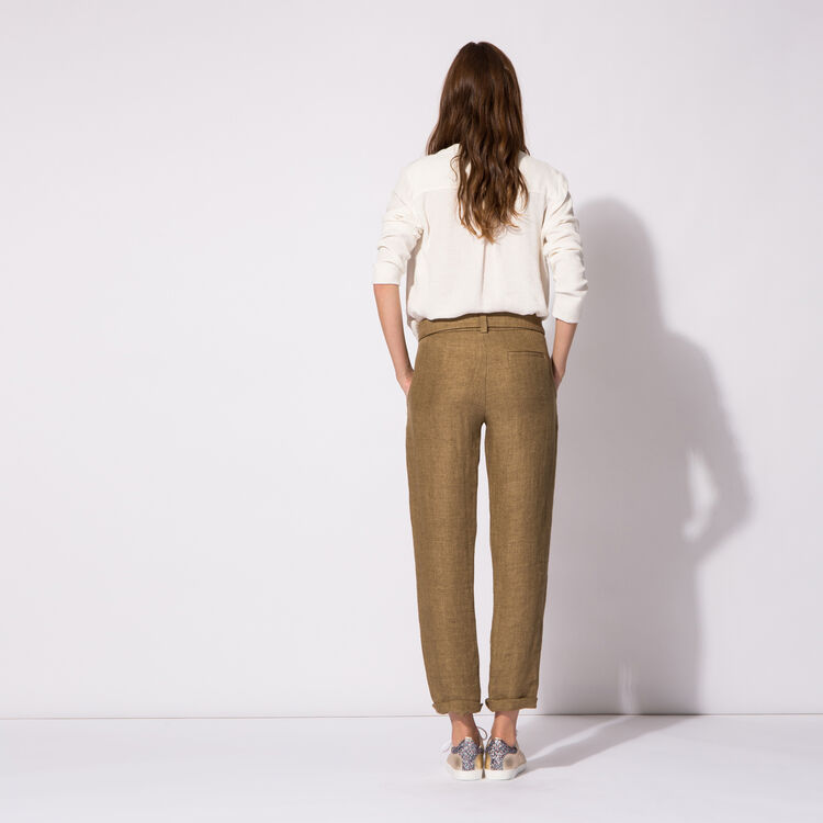 Straight linen trousers with bow : An invitation to travel color