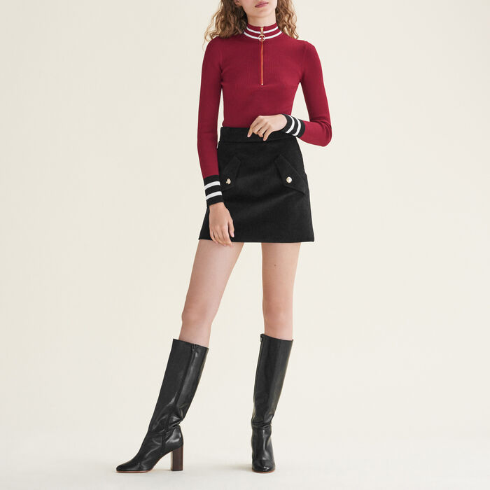 Fine knit zipped jumper : Sweaters color Burgundy