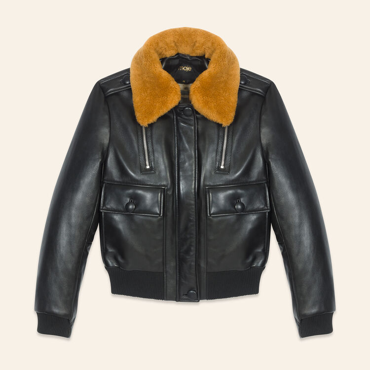 Aviator-style leather jacket : Coats & Jackets color Black 210