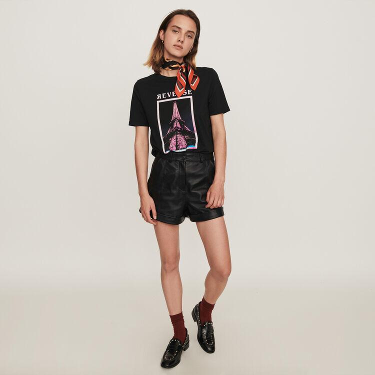 Silk screen printed t-shirt : Tops & T-Shirts color Black
