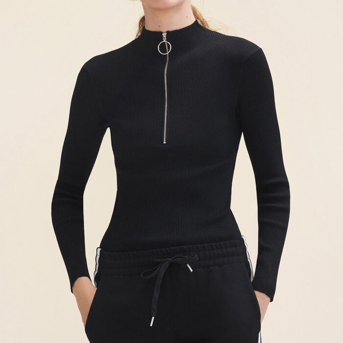 Fine stretch knit jumper with zip : Sweaters color Black 210