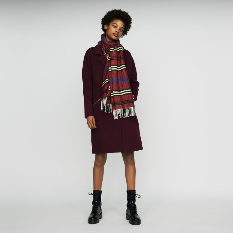 Plaid knit scarf : Shoes & Accessories color Burgundy