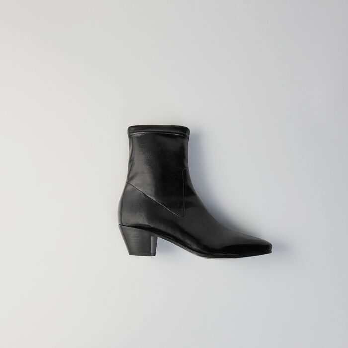 Heeled stretch vinyl booties : Shoes color Black