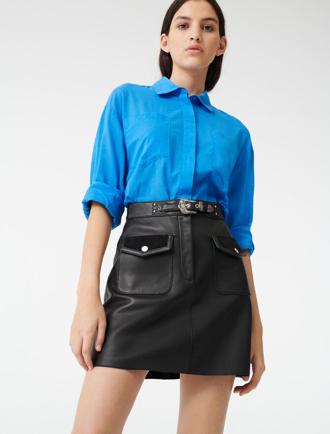 Leather Western skirt - Skirts & Shorts - MAJE