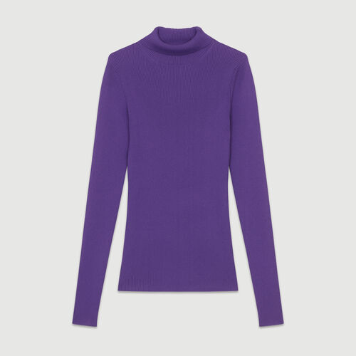 Turtleneck skinny ribbed sweater : The Spring Essentials color Purple
