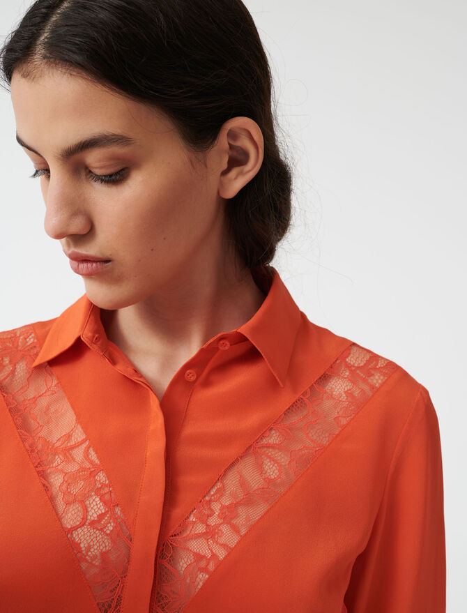 Shirt with lace inserts - Tops & T-Shirts - MAJE