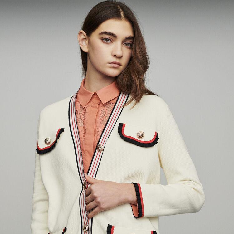 Long block-knit jacket : Sweaters color Ecru